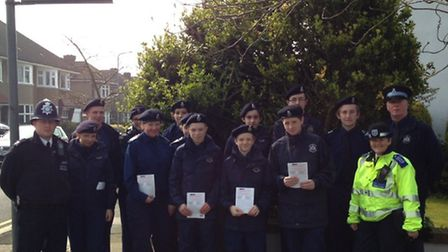 PC Craig Blackwood along with members and staff from the Volunteer Police Cadets
