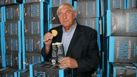 Alby Tebbutt tries out some of the bags of crisps he has aquired