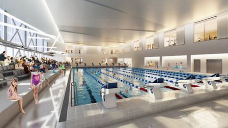 Artist impression of how the competition pool in the new Romford Leisure Development is expected to