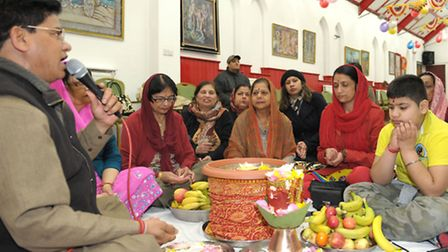 Prayers were read and flowers and seeds distributed at the VHP Ilford Hindu Centre