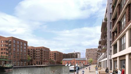 An artists' impression of Ivax Quays, Albert Basin Royal Docks, Gallions Road, Beckton, London