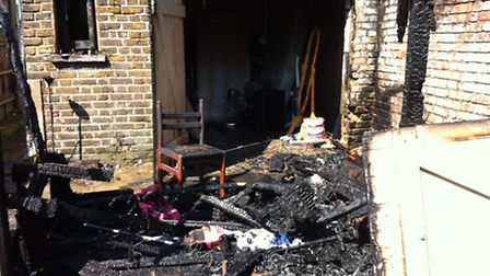 The wreckage after the fire in Hobbs Mews, Seven Kings.