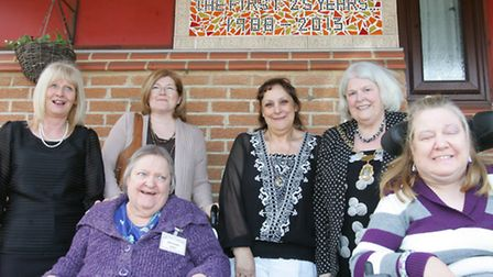 Deputy Mayor Cllr Elaine Norman (second from right) helped unveil a special mosaic for the 25th anni