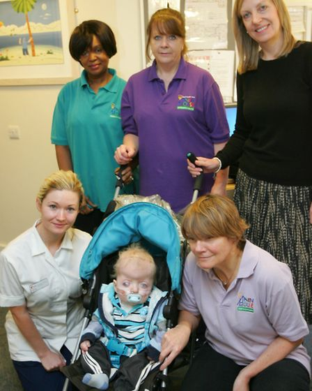The nursing staff with young Oliver Clydesdale