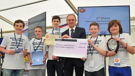 The Royal Liberty School team was awarded the UK Aerospace Youth Rocketry Challenge Award by Terry B