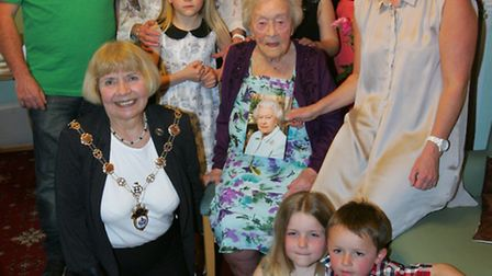 100 year old Margaret Lawton with the mayor Cllr Lyndon Thorpe and family