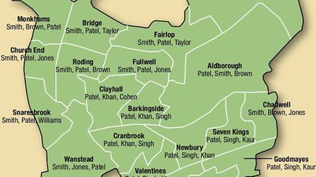 A map showing the first, second and third most common names in each Redbridge ward.