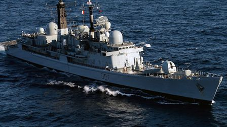HMS Edinburgh which is due to arrive in London as part of events to mark the 70th anniversary of the