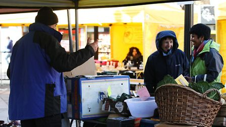 The organic veggetables stall in Woodgrange market, Forest Gate
