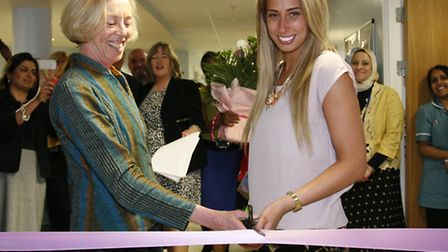 Stacey Solomon, right, cuts the Ribbon at the Queen's Birth Centre with Cathy Warwick from the Royal