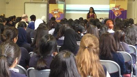 Aneeta Preem talking to year 11 pupils at Woodford County High School about forced marriage.
