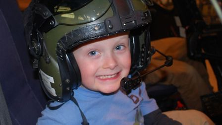 Lewis in a helicopter at Middle Wallop airfield
