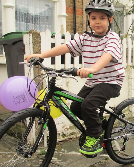 Salvatore with his new bicycle