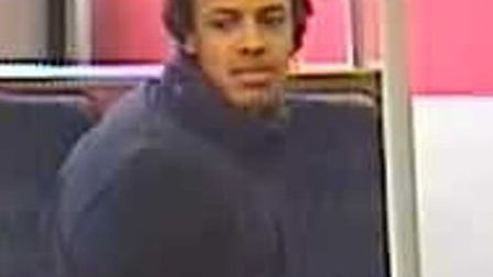 Police want to speak to this man about an assault with a baseball bat on a Stratford-bound train