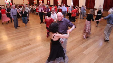 A tea dance on St George's Day at Stratford Old Town Hall.