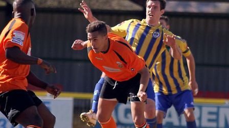 Romford's Nick Reynolds tries for goal against Waltham Forest (Mick Kearns/TGSPHOTO)