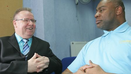 C company boss David Evans with Clive Blair