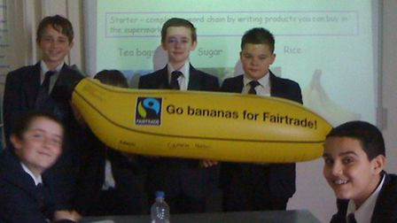Geography students learning about fairtrade