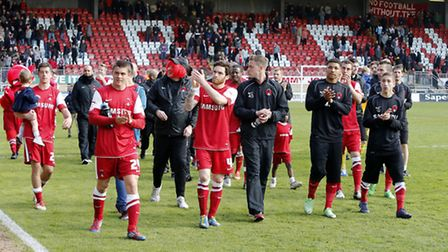 Orient players applaud their supporters after the last game of the season (Pic: Simon O'Connor)