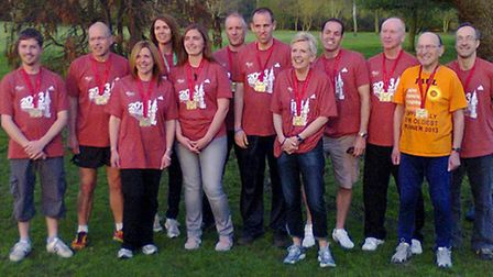 Some of the Havering 90 Joggers who completed the London Marathon on April 21