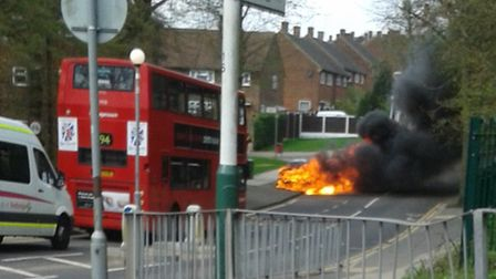 The burning car on Whitchurch Road (photo submitted via e-mail)