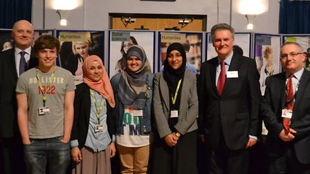 NewVIc students Khadiza Choudhury, Rumana Ali, and Tayyaba Malik with principal Eddie Playfair and B
