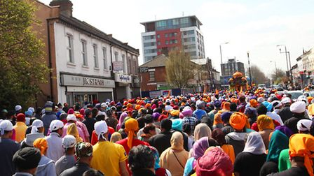 Thousands of Sikh workshippers take Romford Road to celebrate Vaisakhi.