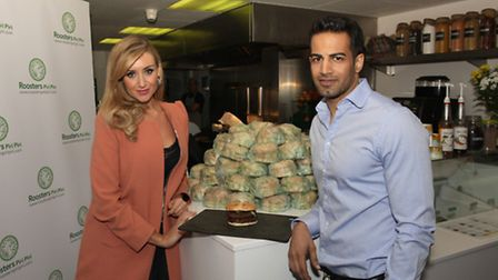 Catherine Tyldesley and Upen Patel launch Roosters in Ilford.