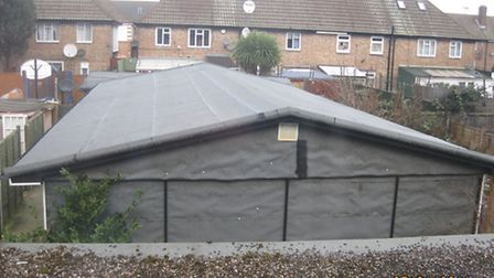 """The """"shed with bed"""" that was built in the garden."""