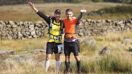 Paul Hartshorn and fellow runner Ray on a trail in north Yorkshire
