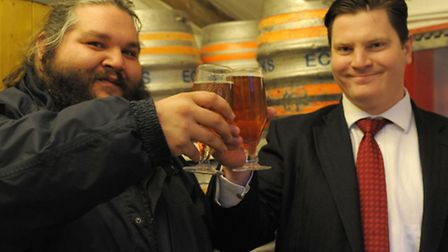 Chris Penny and Gavin Happé at the brewery in Aldborough Hatch.