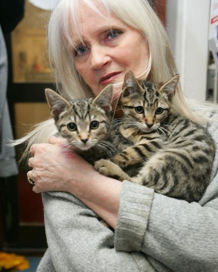 Celia Hammond with two rescued kittens
