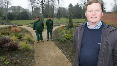 Park manager Simon Litt in the dry garden with gardeners Michael Mitchell and Seamus Harding