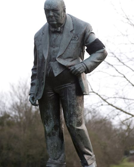 The statue of Winston Churchill in Woodford Green was given a black armband after Margaret Thatcher'