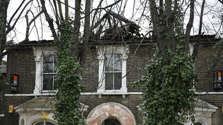 The building damaged by fire on Romford Road, Forest Gate.