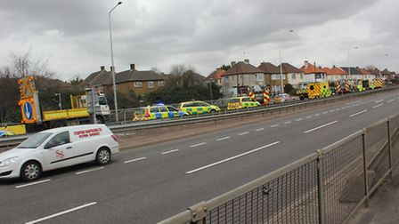 Part of Colchester Road was closed while emergency services dealt with the victims. Picture: James M