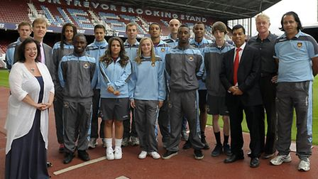 Lyn Brown MP and Stephen Timms MP and the WHU apprentices and members of the WHU Community programme