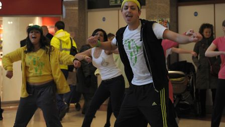 Dance fitness group Bokwa perform in the Mercury Mall, Romford, this spontaneous act of dancing in a