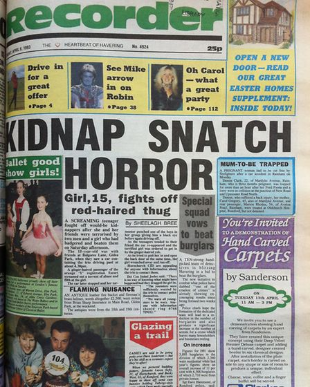 Romford Recorder front page April 9, 1993