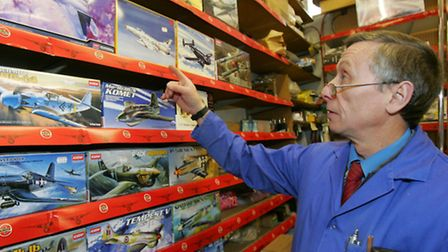Martin Sampson with a collection of Airfix model planes