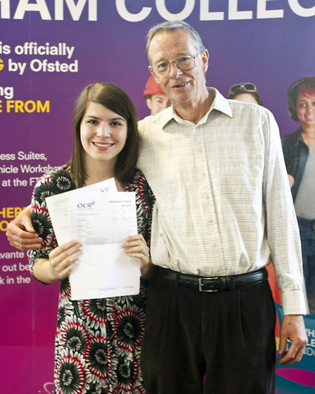 Charlie Carter with one with one his successful A Level student, Eva Muszynski, a former Langdon Sc