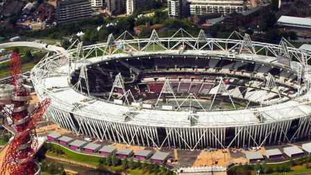 Aerial view of the Olympic Park, in Stratford, east London, showing the Olympic Stadium and the Arce