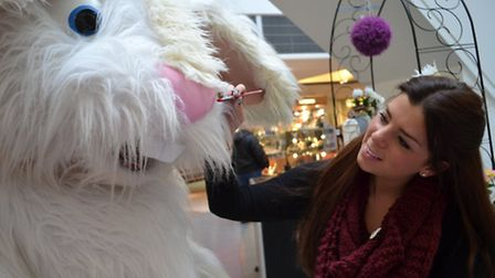 Julie De Courcy Rolls painted the Easter Bunny's face at the Mercury Mall as part of the face painti