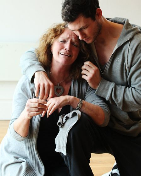 """British actress Louise Jameson playing like Bridie with actor James Farrar at """"Gutted"""", an upcoming"""