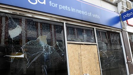 The PDSA charity shop was destroyed in the fire