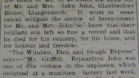 The Llanelly Mercury's report about Griffith's death - which makes no reference to where he was kill