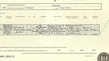 Griffith John's death certificate, dug out by the West Essex War Memorial Project