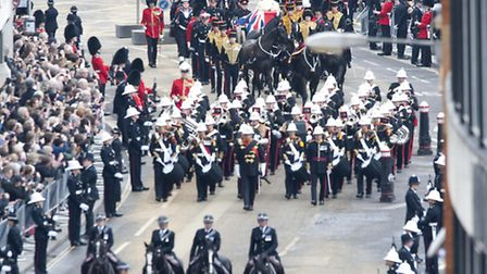 The coffin bearing the body of Baroness Thatcher makes it way to St Paul's Cathedral. Picture: David