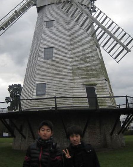 """The """"Cultural Homestay"""" students visited Upminster Windmill"""