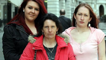 From left Hannah Page, Luke's girlfriend; Caroline Harwood, Luke's mum; and his sister Emma Fordham.